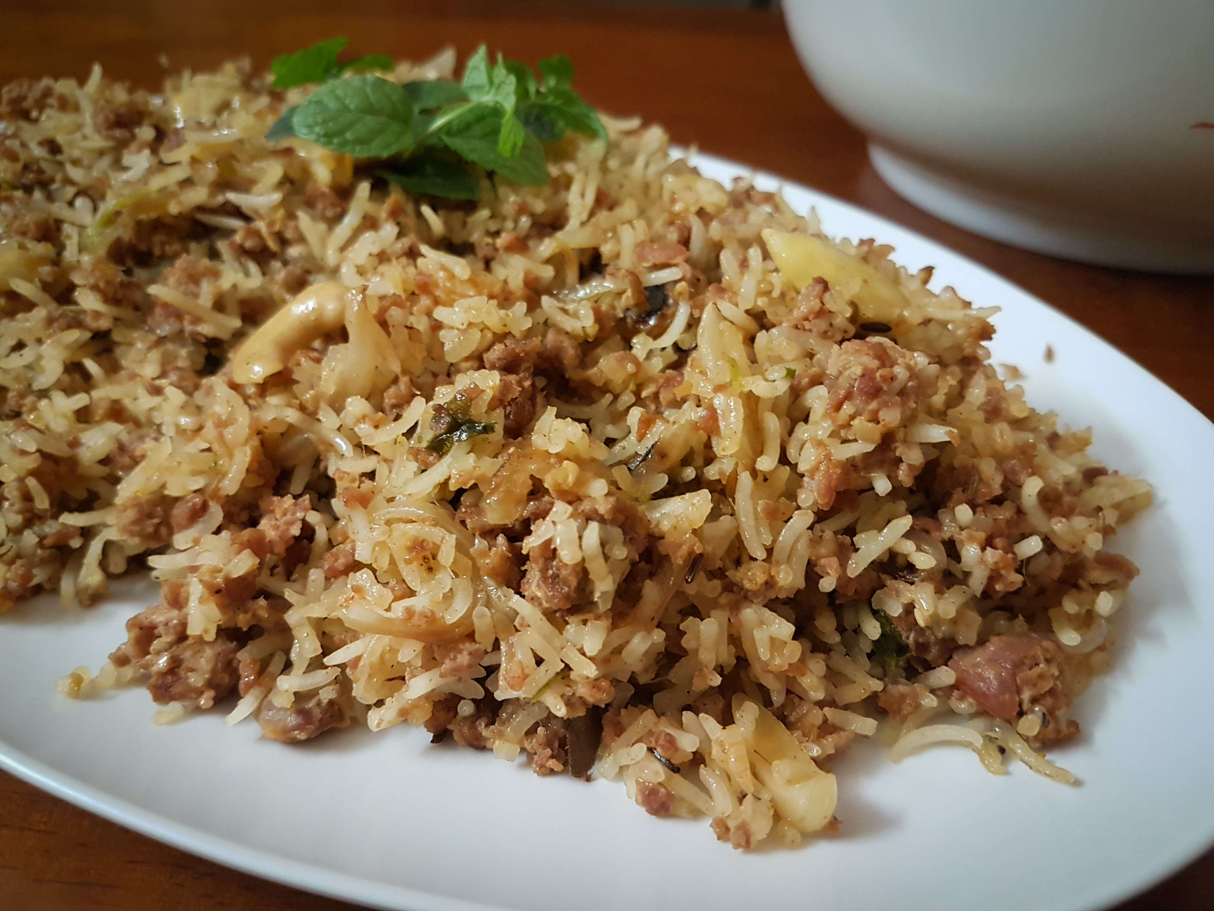 Mom's Rice Cooker Mutton Keema Pulao / www.quichentell.com